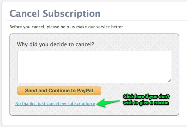 The cancellation form, and alternative link to bypass the form