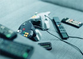 Video game controllers.